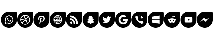 Icons Social Media 12 Font LOWERCASE