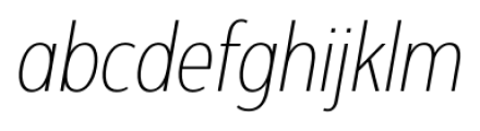 Interval Next Condensed Ultra Light Italic Font LOWERCASE