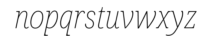 Noto Serif SemiCondensed Thin Italic Font LOWERCASE