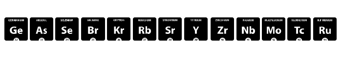 Periodic Table of Elements Font UPPERCASE