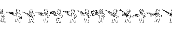 Pip Boy Weapons Dingbats Font LOWERCASE