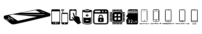 Smartphone Icons Font LOWERCASE