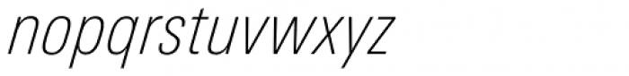Univers Next Pro 221 Condensed Thin Italic Font LOWERCASE