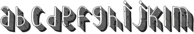Wilhemina striped 3d grungy out otf (400) Font LOWERCASE
