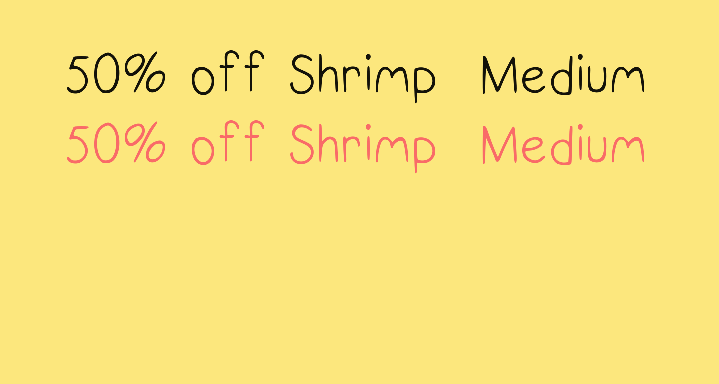 50% off Shrimp  Medium