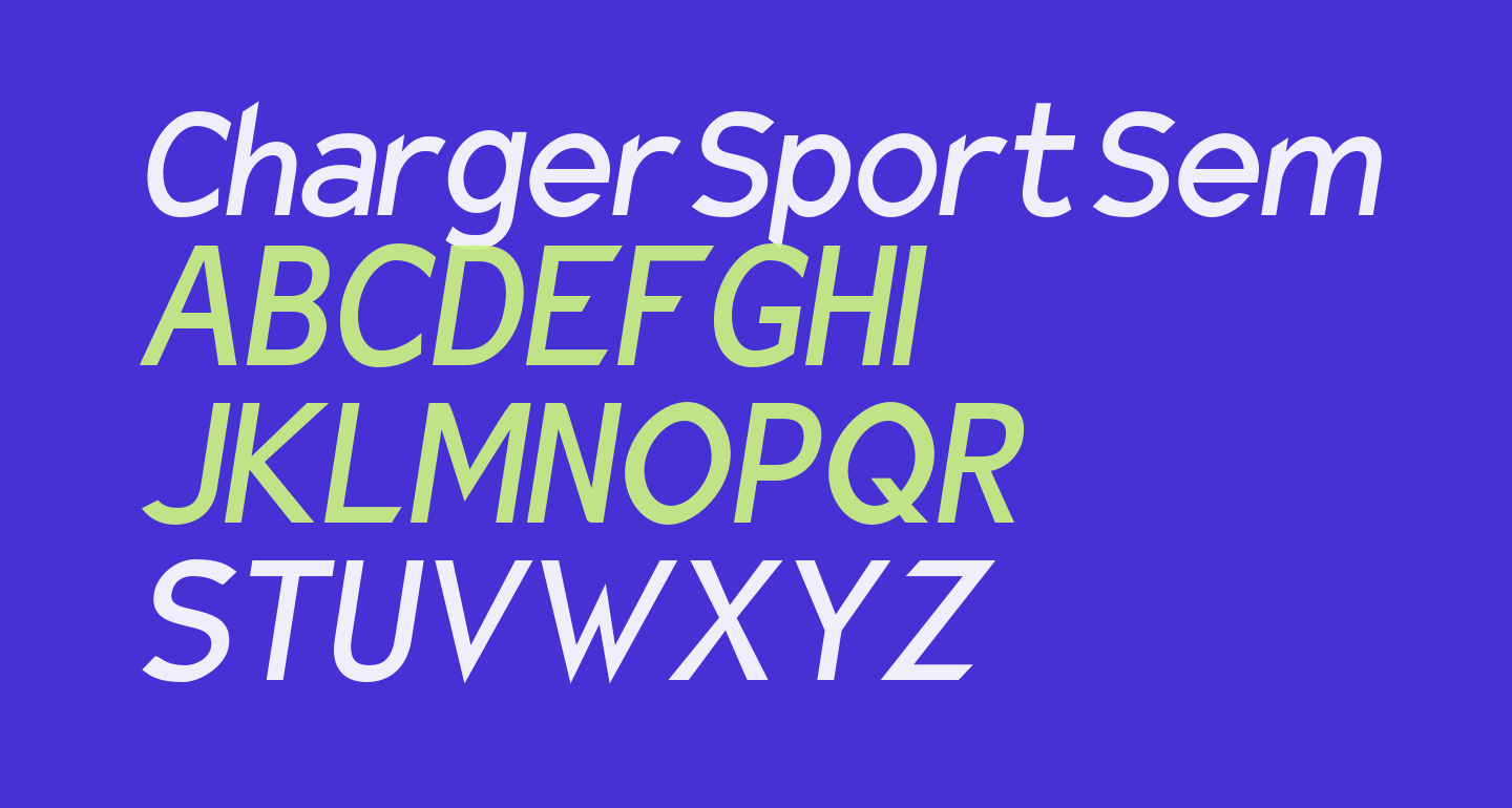 Charger Sport SemiBold Narrow Oblique