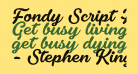 Fondy Script PERSONAL USE ONLY