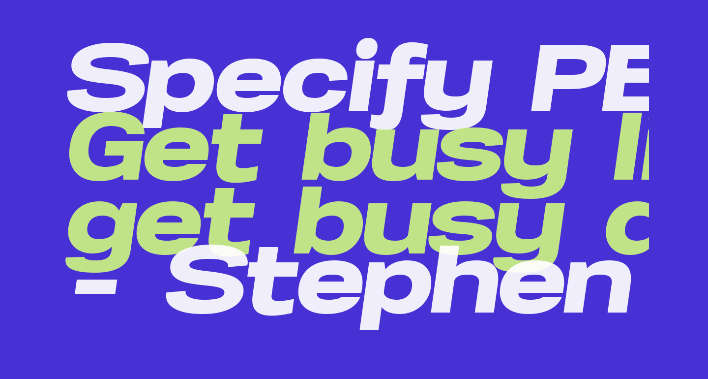 Specify PERSONAL Expanded Black Italic
