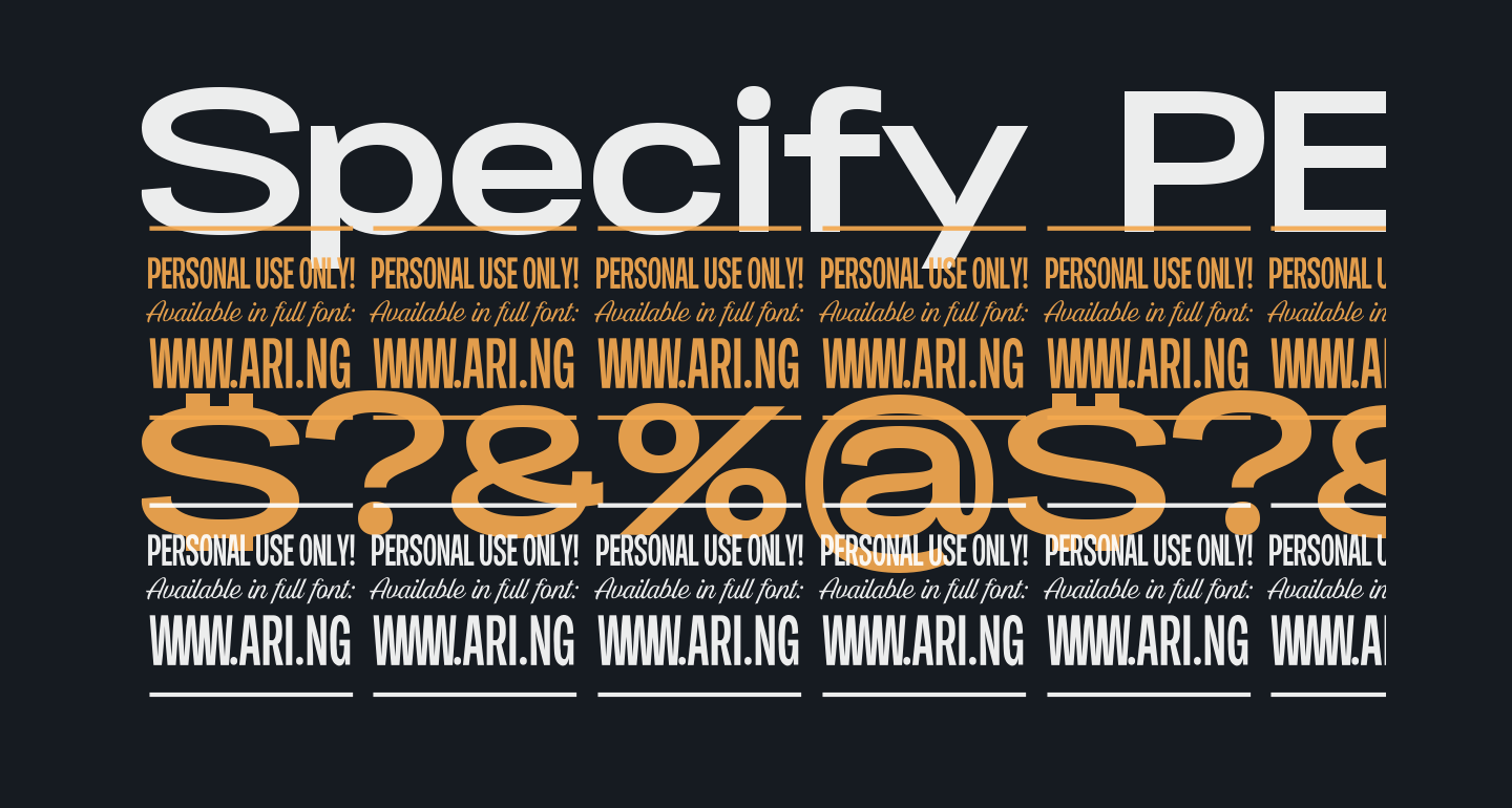 Specify PERSONAL Expanded Bold